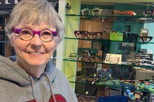 Vickie in her Wissing Eyewear
